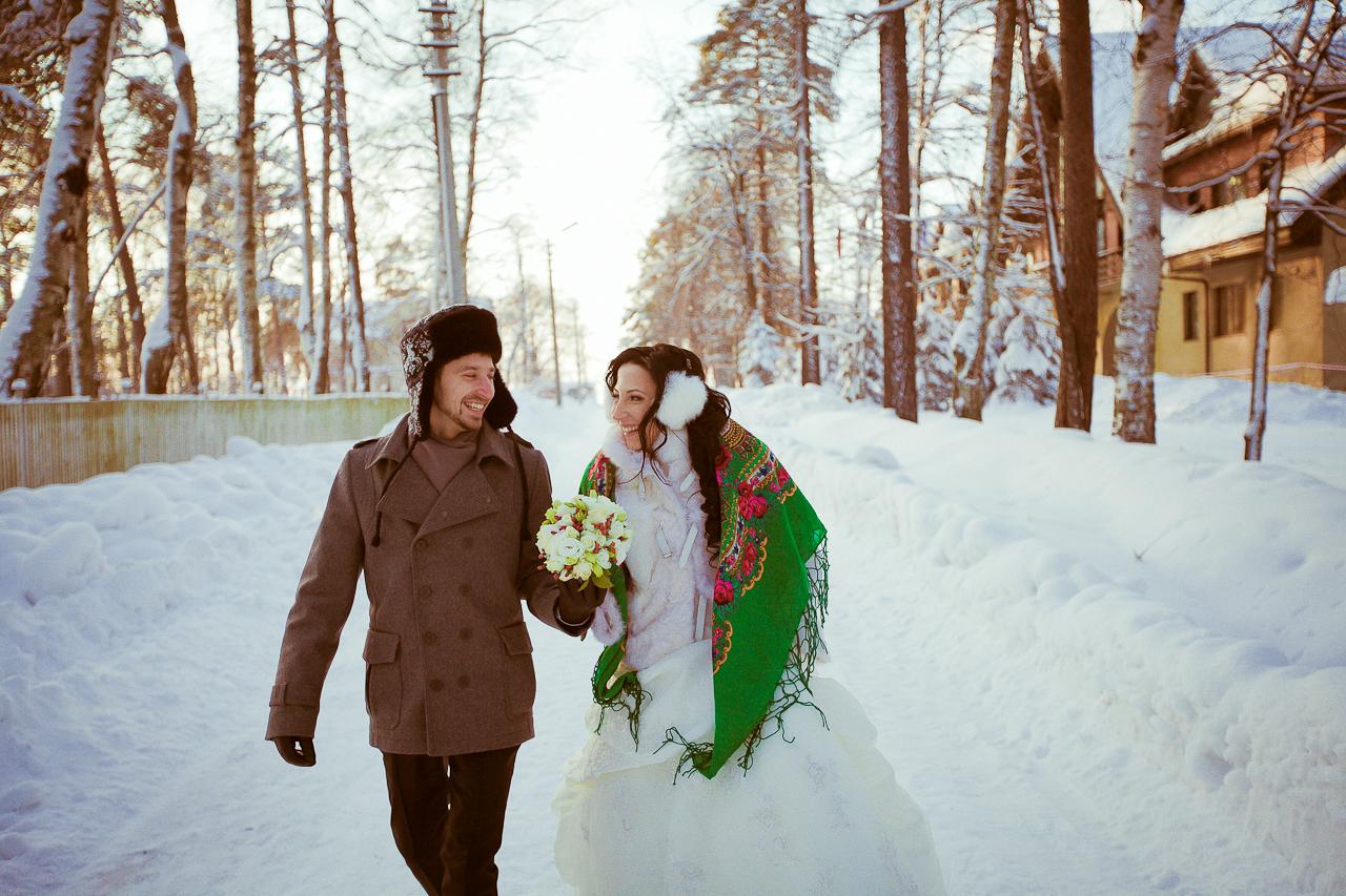 Красивое фото свадьба зимой