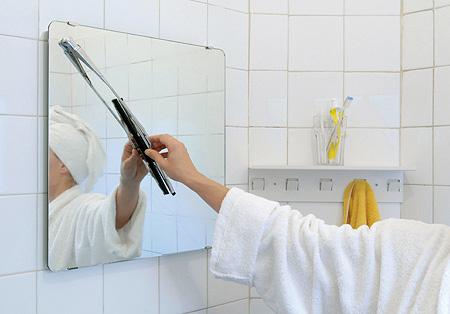 Зеркало с дворником для душа или сауны, ванной.